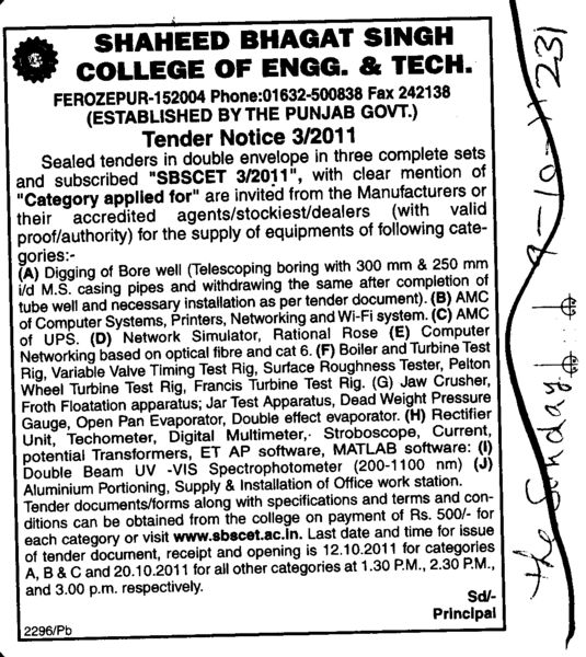 Manufactures or their accredited agents dealers (Shaheed Bhagat Singh State (SBBS) Technical Campus)