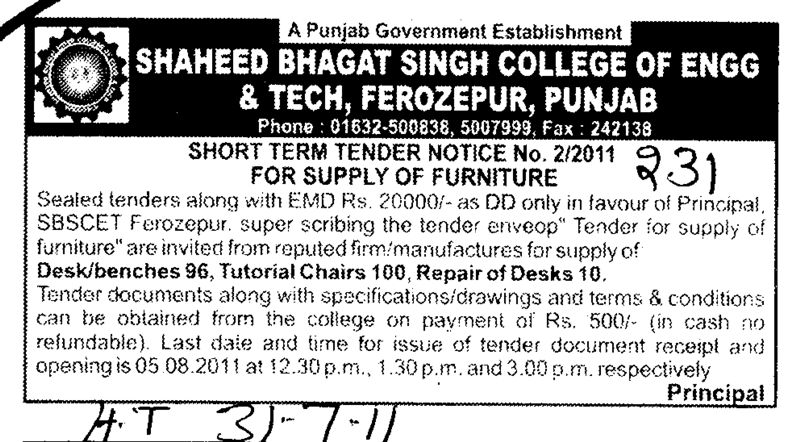 Supply of Furniture (Shaheed Bhagat Singh State (SBBS) Technical Campus)