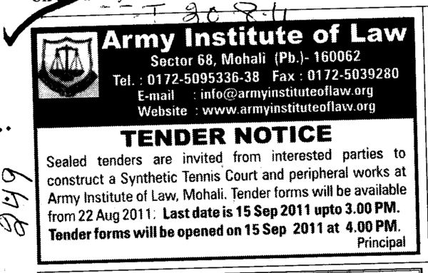 Construct a Synthetic Tennis Court (Army Institute of Law)