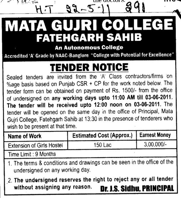 A Class contractors and Firms (Mata Gujri College)