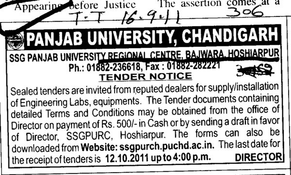 Reputed Dealers for Supply and Installation of Engineering Labs (PU Regional Campus PUSSGRC)