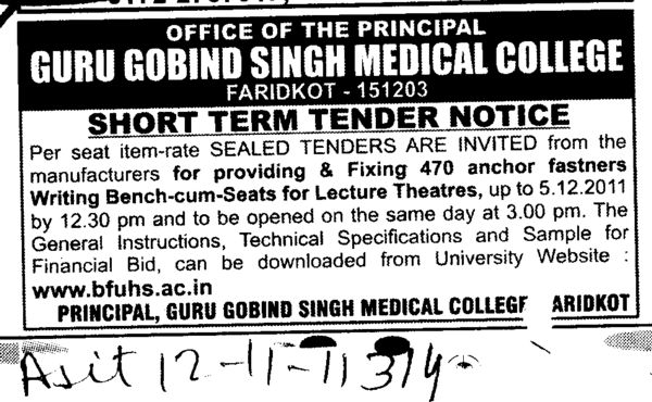 Manufactures for providing and Fixing 470 anchor fastners Writing Bench cum Seats for Lecture Theatres (Guru Gobind Singh Medical College)