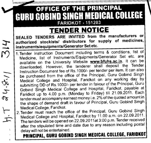 Manufactures or authorized stockists (Guru Gobind Singh Medical College)