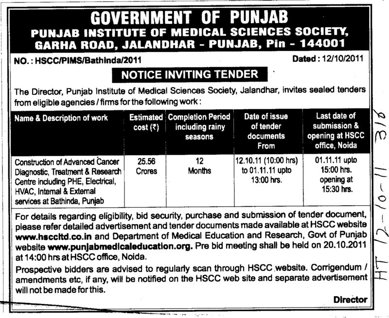 Construction of Advanced Cancer Diagnostic and HVAC etc (Punjab Institute of Medical Sciences (PIMS))