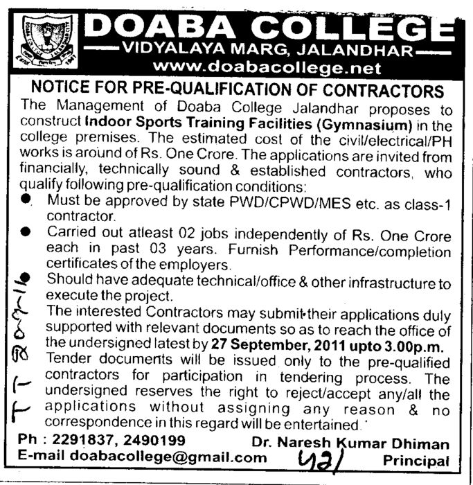 Prequalification of Contractors (Doaba College)