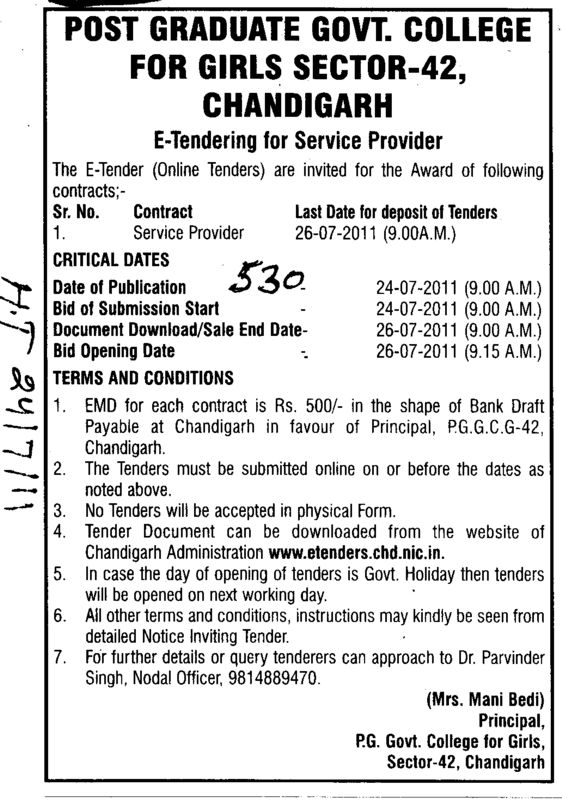 Service Provider (PG Government College for Girls (GCG Sector 42))
