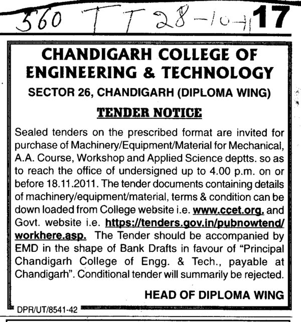 Purchase of Machinery and Material for Mechanical (Chandigarh College of Engineering and Technology (CCET))