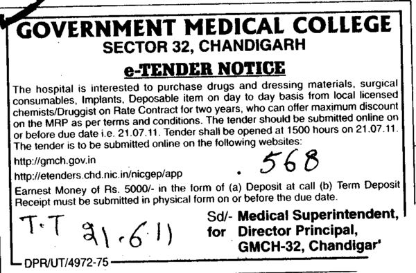 Purchase drugs and dressing materials (Government Medical College and Hospital (Sector 32))