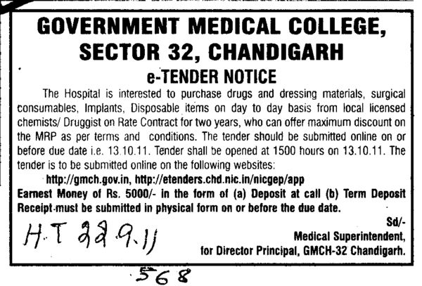 Purchase drugs Surgical consumables and dressing materials etc (Government Medical College and Hospital (Sector 32))