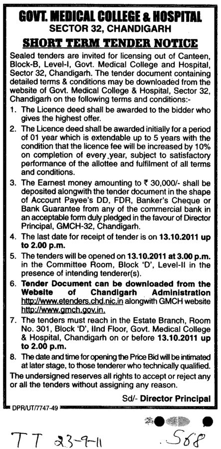 licensing out of Canteen (Government Medical College and Hospital (Sector 32))