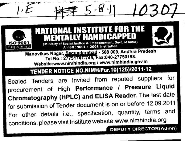 Suppliers for procurement of High Performance and ELISA Reader etc (National Institute for the Mentally Handicapped (NIMH))