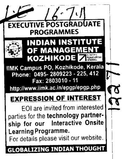 Technology Partnership for our interactive onsite Learning Programme (Indian Institute of Management (IIM-Calicut))
