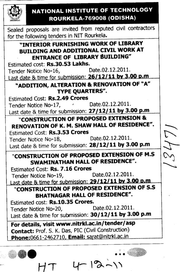 Construction of Proposed Extension and Renovation etc (National Institute of Technology (NIT))