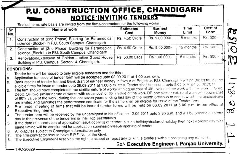 Construction of Building for Paramedical Science and Renovation etc (Panjab University)
