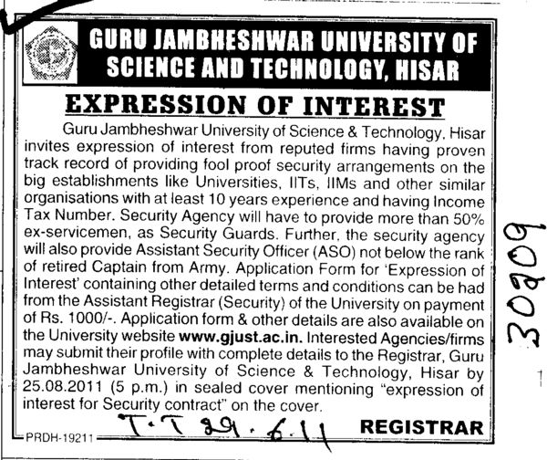 Proven track record of providing fool proof Secuirity arrangements (Guru Jambheshwar University of Science and Technology (GJUST))