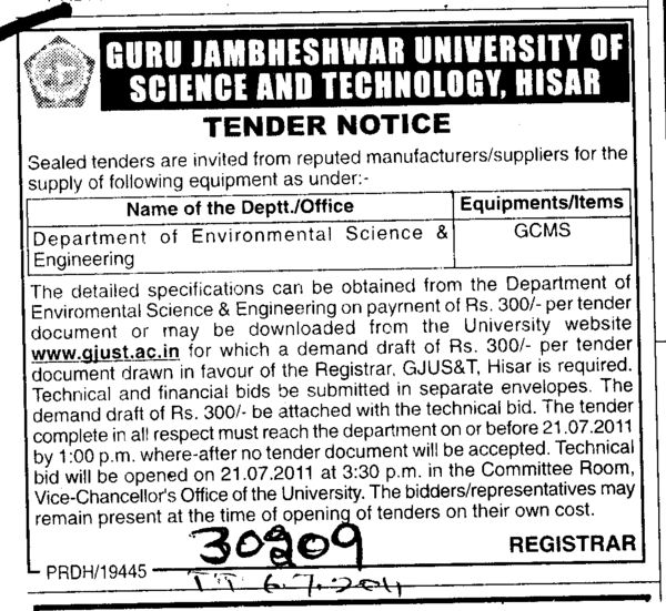 Department of Environment Science and Engineering (Guru Jambheshwar University of Science and Technology (GJUST))