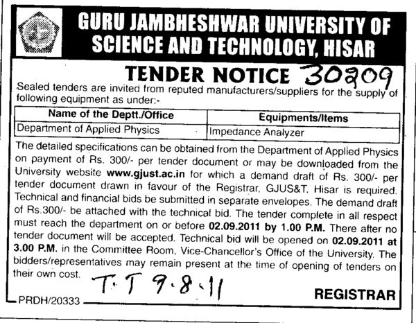 Department of Applied Physics (Guru Jambheshwar University of Science and Technology (GJUST))