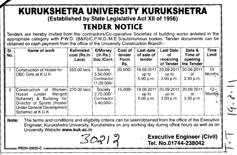 Construction of Hostels for OBC Girls at K U K (National Institute of Technology (NIT))