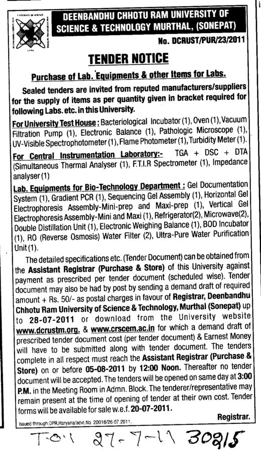 Purchase of Lab Equipments and other items for labs (Deenbandhu Chhotu Ram University of Science and Technology)
