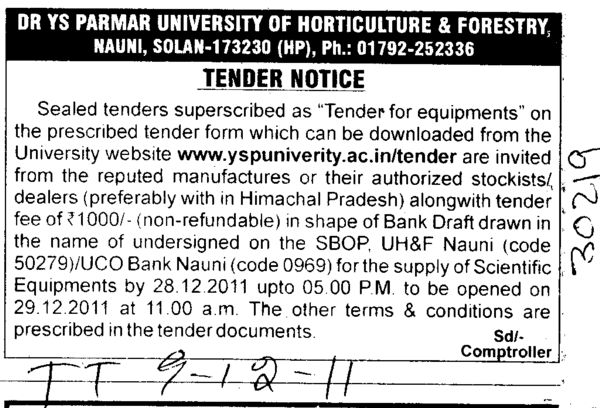 For Equipments (Dr Yashwant Singh Parmar University of Horticulture and Forestry)
