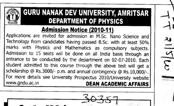MSc in Nano Science (Guru Nanak Dev University (GNDU))