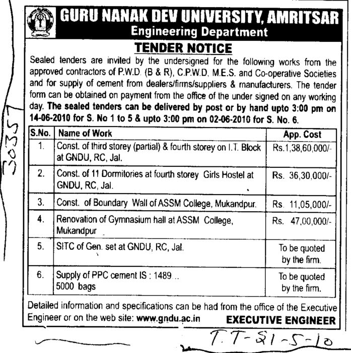Construction of Boundary Wall and Supply of PPC cement etc (Guru Nanak Dev University (GNDU))
