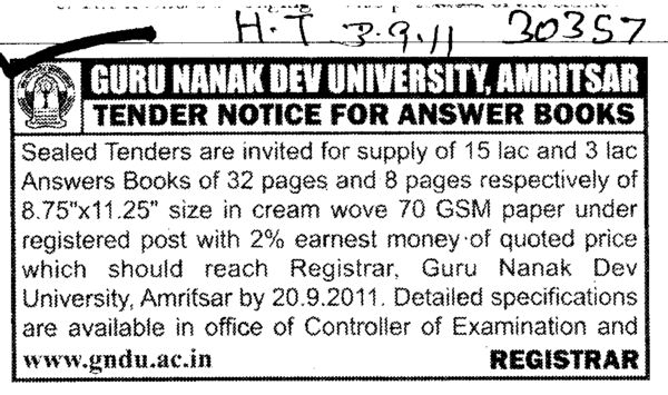 Supply of Answer Books (Guru Nanak Dev University (GNDU))