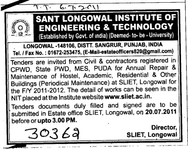 Civil and Contractors registered in CPWD and PUDA etc (Sant Longowal Institute of Engineering and Technology SLIET)