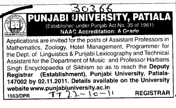Assistant Proffessor for Mathematics and Zoology etc (Punjabi University)