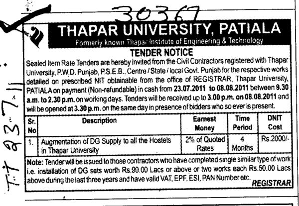Augmentation of DG Supply to all the Hostels in Thapar University (Thapar University)