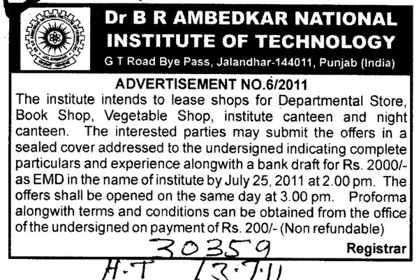 Shops for Departmental Store and Book Shop etc (Dr BR Ambedkar National Institute of Technology (NIT))