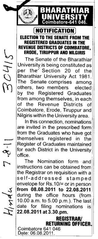 Election of the Senate from the Registered Graduates in the Revenue Districts (Bharathiar University)