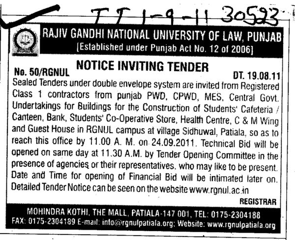 Registered Class 1 Contractors from Punjab PWD (Rajiv Gandhi National University of Law (RGNUL))