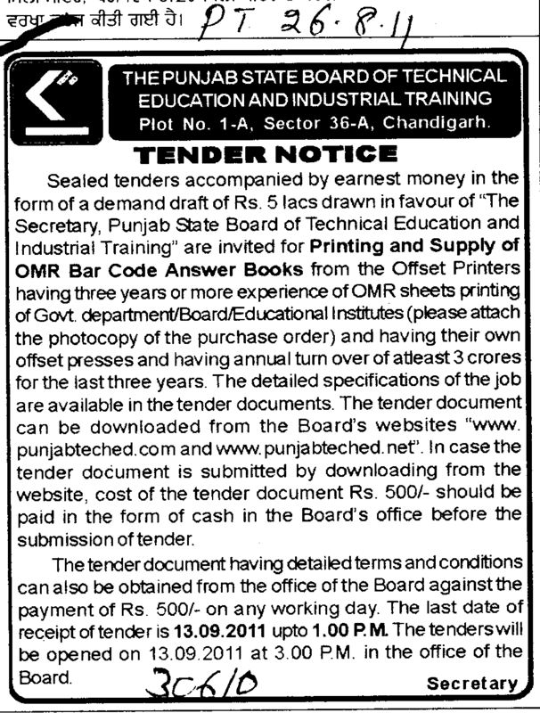 Printing and Supply of OMR Bar code Answer Books (Punjab State Board of Technical Education (PSBTE) and Industrial Training)