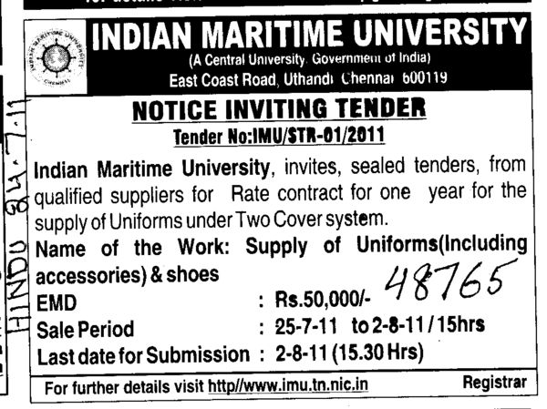 Supply of Uniforms and Shoes (Indian Maritime University)