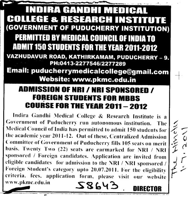 NRI Sponsored for MBBS Course (Indira Gandhi Medical College and Research Institute)
