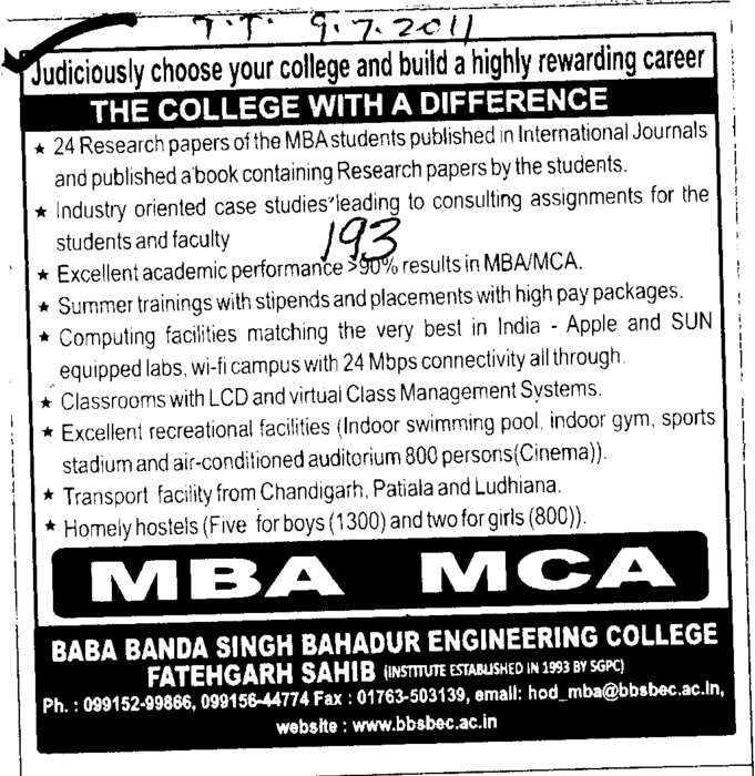 MBA and MCA Course (Baba Banda Singh Bahadur Engineering College (BBSBEC))