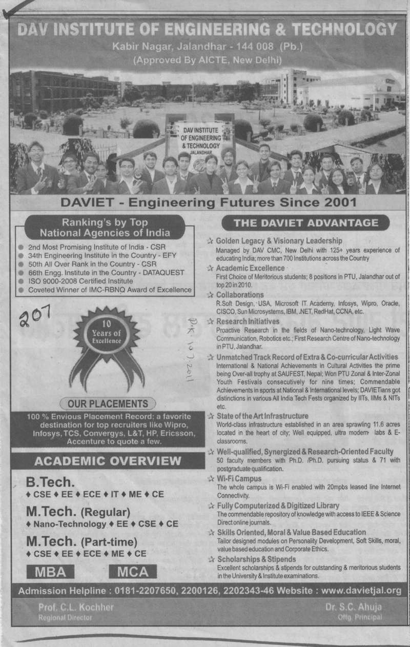 BTech and MTech on regular basis (DAV Institute of Engineering and Technology DAVIET)