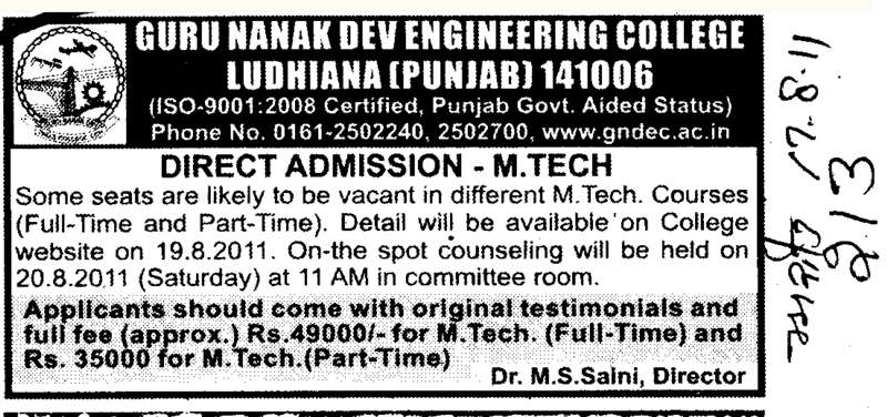 Direct admission in Mtech Course (Guru Nanak Dev Engineering College (GNDEC))