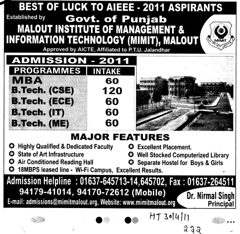 BTech MTech MBA MCA and BCA etc (Malout Institute of Management and Information Technology MIMIT)