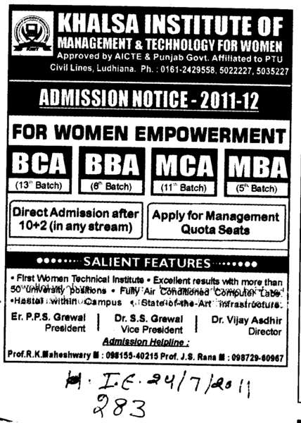 BCA BBA MCA and MBA etc (Khalsa Institute of Management and Technology for Women)