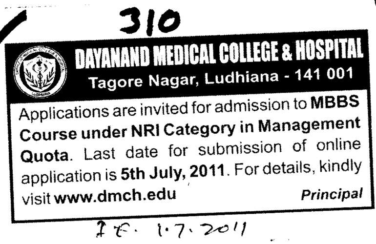 NRI Sponsored for MBBS Course (Dayanand Medical College and Hospital DMC)