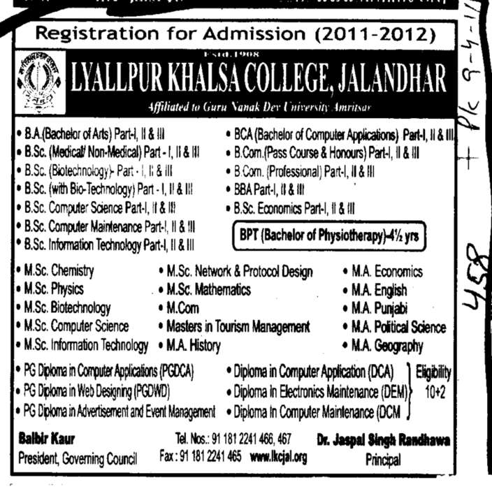 BA BSc MSc and PG Course (Lyallpur Khalsa College of Boys)