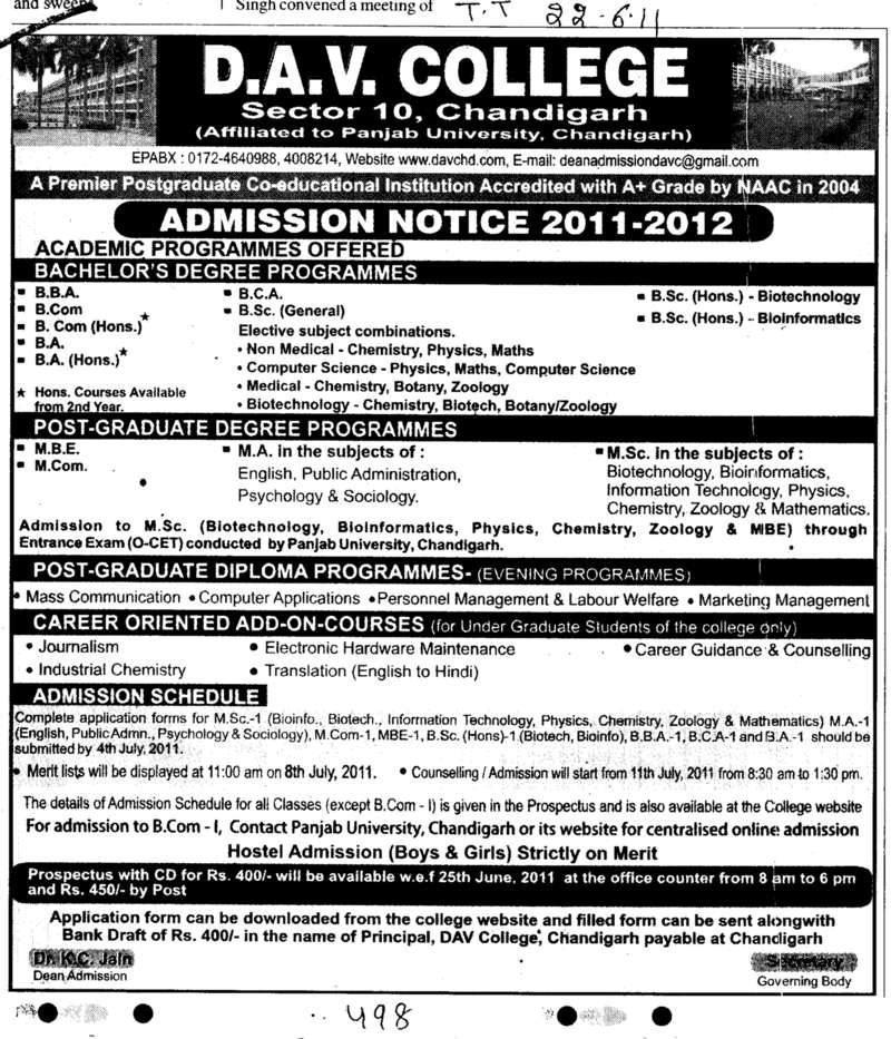 BBA BCom BCA and MBE etc (DAV College Sector 10)
