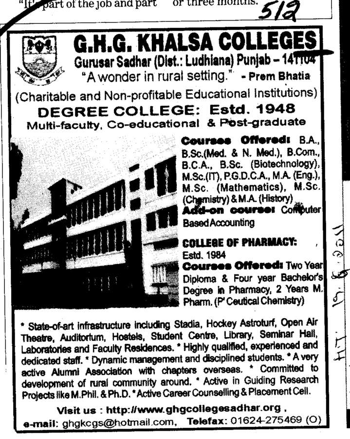 BSc BCom BCA and PGDCA etc (GHG Khalsa College)