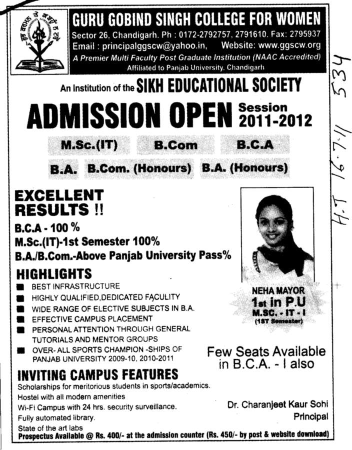 BCA MSc BCom and MSc IT etc (Guru Gobind Singh College for Women Sector 26)