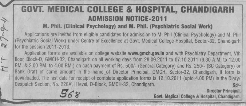 MPhill in Clinical Psychology and Psychiatric Social work etc (Government Medical College and Hospital (Sector 32))