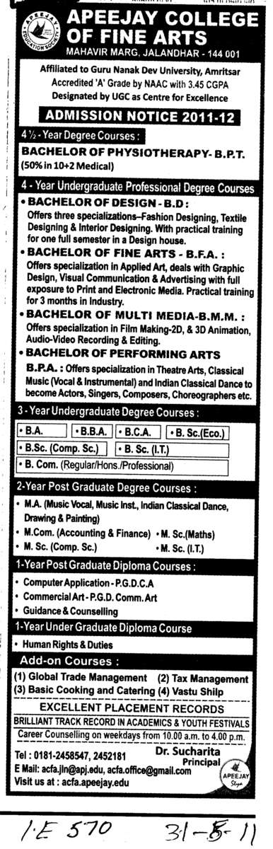 BA BBA BCA and BSc etc (Apeejay College of Fine Arts)