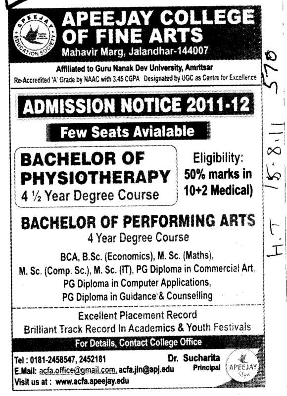 Bachelor of Physiotherapy (Apeejay College of Fine Arts)