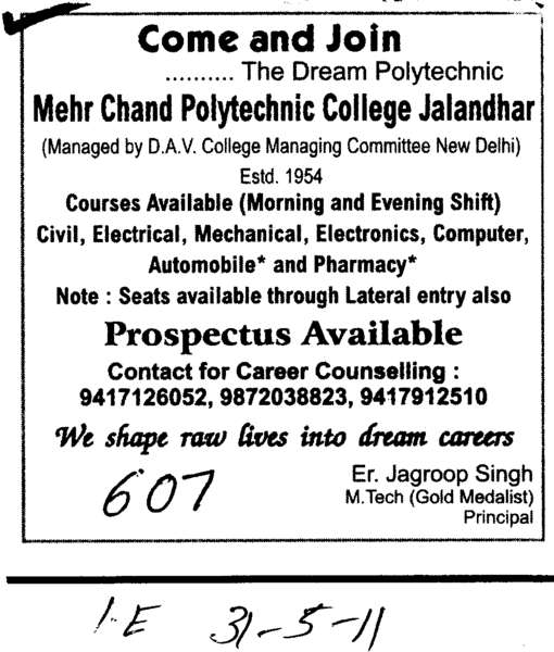 BTech in Civil Electrical and Computer etc (Mehr Chand Polytechnic College)